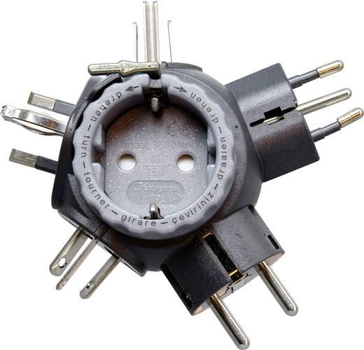 Univerzális konnektor átalakító adapter, fekete/szürke, Travel Star Plus, Kopp 1774.1501.0