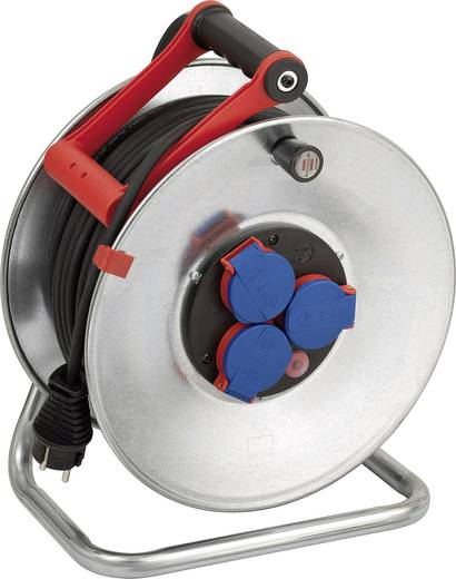 Kábeldob 50 m, IP44, szürke/fekete, 3 részes, H05RR-F 3 G 1,5 mm², 230V, Brennenstuhl 1198530
