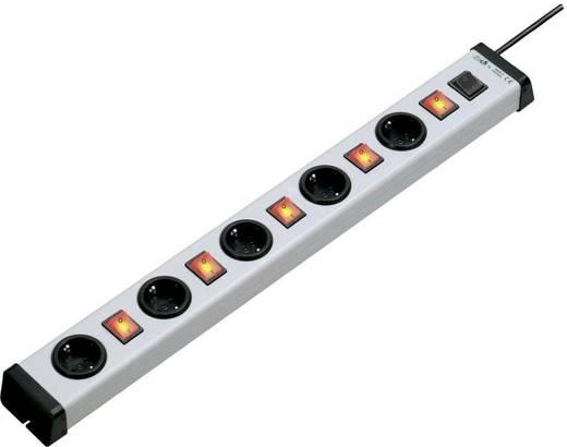 Külön kapcsolós elosztó világítós, főkapcsolóval 5 részes alu szürke-fekete 1,5 m Ehmann 0235x01054301