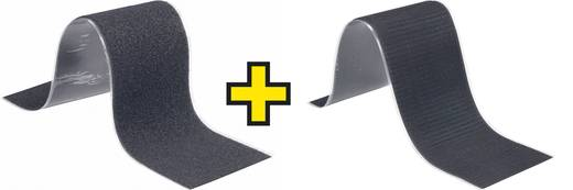 Tépőzár Felragasztáshoz Bolyhos és horgos fél (H x Sz) 500 mm x 100 mm Fekete Fastech 1 pár