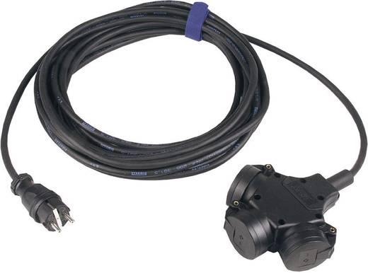 Hálózati hosszabbítókábel 3 részes elosztóval, 3 m, IP44, fekete, H07RN-F 3 G 1,5 mm², SIROX 345.503