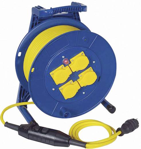 Kábeldob 40 m, IP54, kék/sárga, 4 részes, H07RN-F 3 G 1,5 mm², 230V, PRCD-S, Jumbo 266.654.9405