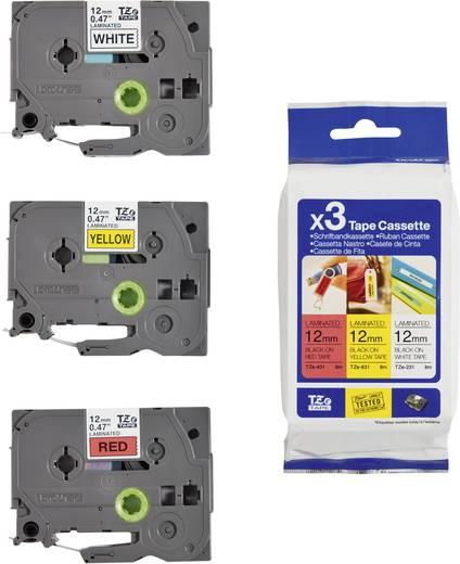 Feliratozó szalag 3 részes készlet 12 mm 8 m fehér, sárga, piros szalag, fekete betűk Brother TZe-31M3
