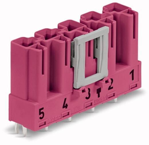 Hálózati csatlakozó dugó, beépíthető, függőleges, pólusszám: 5, 25 A, pink, WAGO 770-895, 50 db