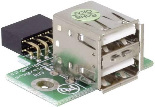 USB 2.0 adapter, 2 x USB 2.0 aljzat A – 1 x USB 2.0 Alzat (belső 10 pól.), ezüst