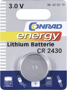 CR2430 lítium gombelem, 3 V, 270 mA, Conrad Energy BR2430, DL2430, ECR2430, KCR2430, KL2430, KECR2430, LM2430 (650219) Conrad energy