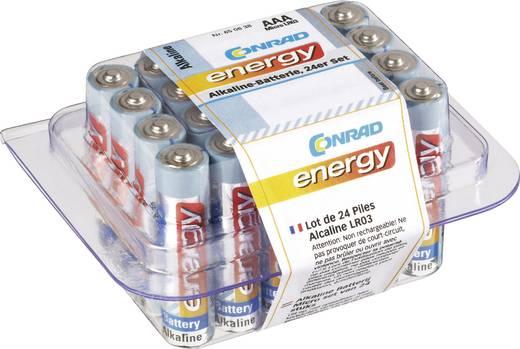 Mikroelem AAA készlet, alkáli mangán, 1,5V, 24 db, Conrad Energy LR03, AAA, LR3, AM4M8A, AM4, S