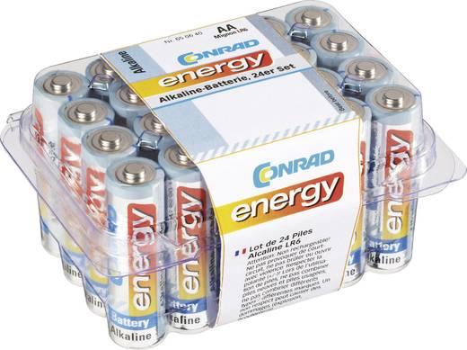 Ceruzaelem készlet, 24db 1.5V-os AA alkáli mangán elemkészlet LR06, AA, LR6, AAB4E, AM3, 815, E91, LR6N Conrad Energy