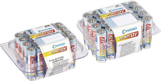 Alkáli elemkészlet, 24 db ceruza- és 24 db mikroelem, Conrad Energy