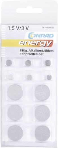 Alkáli/lítium gombelem készlet, 18 db, Conrad energy 3xAG1/AG3/AG4/AG13, 2xCR2016/CR2025/CR2032