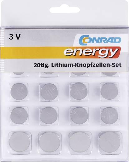 Lítium gombelem készlet, 20 db, Conrad Energy 2xCR1025/CR1620/CR1632/CR2016/CR2430/CR2450, 4xCR2025/CR2032