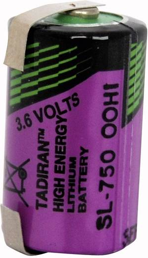 1/2 AA lítium elem, forrasztható, 3,6V 1100 mAh, forrfüles, 14,7 x 25,2 mm, Tadiran SL750/T