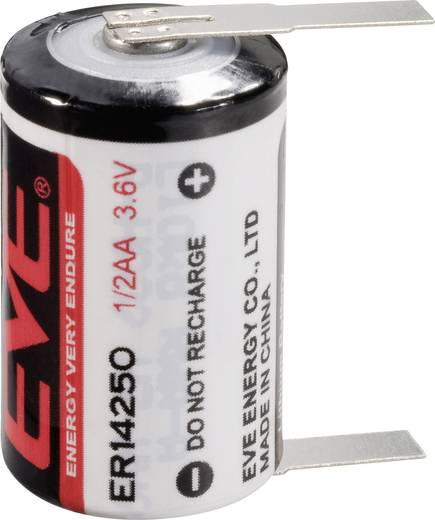 1/2 AA lítium elem, forrasztható, 3,6V 1200 mAh, forrfüles, 14,5 x 25,2 mm, EVE ER14250T