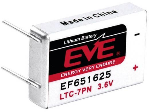 LTC-7PN lítium elem, forrasztható, 3,6V 750 mAh, 25,8 x 16,85 x 14,6 mm, EVE EF651625