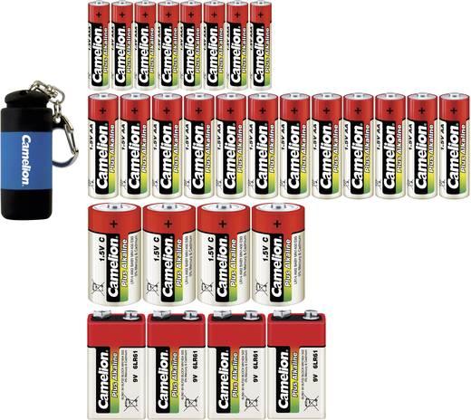 Alkáli elemkészlet zseblámpával 29db-os Camelion 12db ceruzaelem 8db mikroceruza elem, 4db baby elem, 4db 9V-os elem