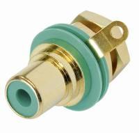RCA csatlakozó alj, beépíthető, függőleges pólusszám: 2 zöld Rean AV NYS367-5-CON 1 db (NYS367-5-CON) Rean AV