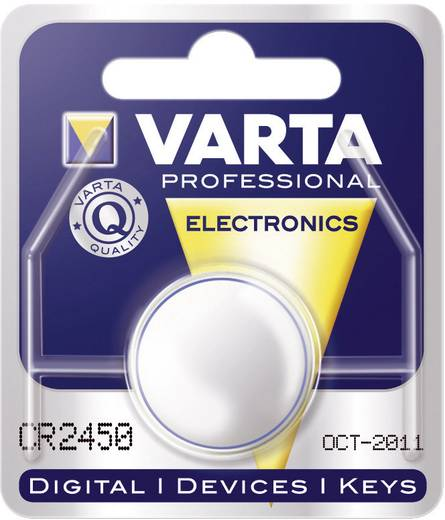 CR2450 lítium gombelem, 3 V, 560 mA, Varta BR2450, DL2450, ECR2450, KCR2450, KL2450, KECR2450, LM2450