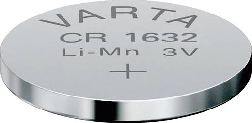 CR1632 lítium gombelem, 3 V, 140 mA, Varta BR1632, DL1632, ECR1632, KCR1632, KL1632, KECR1632, LM1632