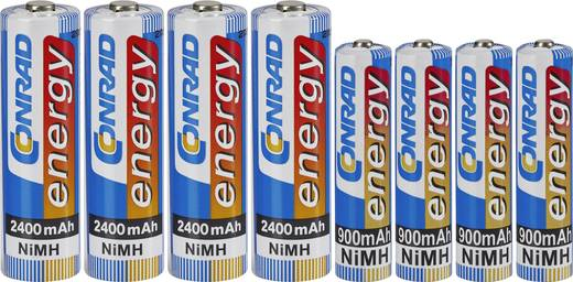 Akkukészlet 4 db NiMH mikro- és 4 db ceruzaakkuval, Conrad energy 4 db 900 mAh-s mikroakku, 4 db 2400 mAh-s ceruzaakku