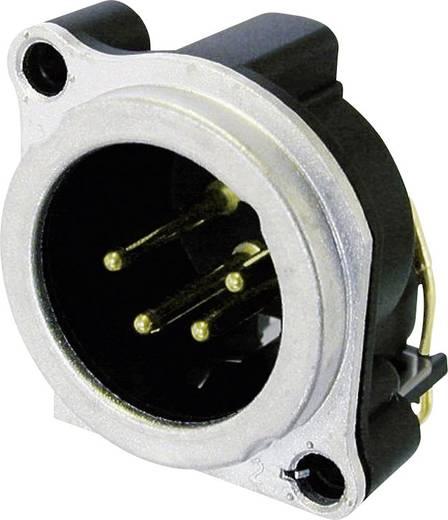XLR csatlakozó peremes dugó, hajlított érintkezők pólusszám: 4 ezüst Neutrik NC4MBH 1 db
