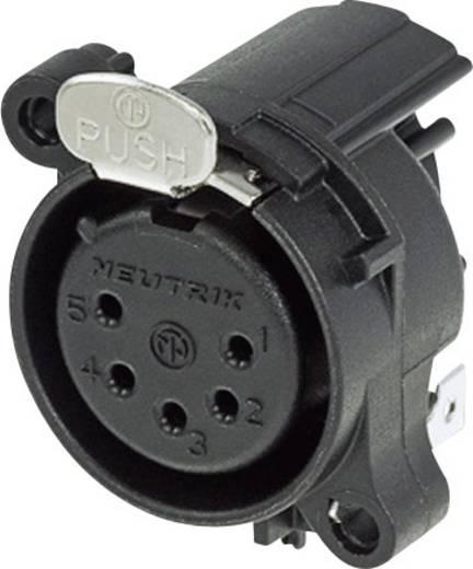 XLR csatlakozó peremes hüvely, hajlított érintkezők pólusszám: 5 fekete Neutrik NC5FAH 1 db