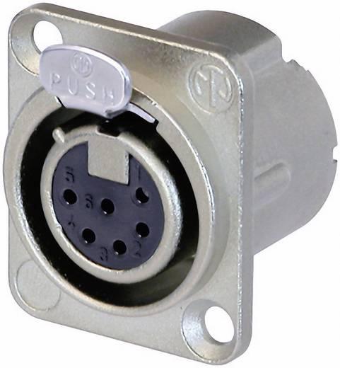 XLR csatlakozó peremes hüvely, egyenes érintkezők pólusszám: 6 ezüst Neutrik NC6FD-LX 1 db