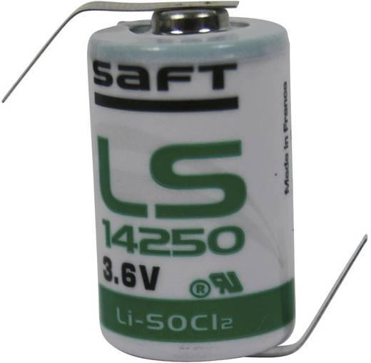 1/2 AA lítium elem, forrasztható, 3,6V 1200 mAh, forrfüles, 15 x 25 mm, Saft LS14250HBG
