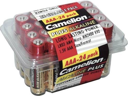 Mikroelem AAA, alkáli mangán, 1,5V, 24 db, Camelion LR03, AAA, LR3, AM4M8A, AM4, S