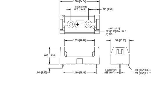 Elemtartó speciális elemhez 1 x 1/2 AA, forrasztható, 34,5 x 16 x 15 mm, Keystone 108