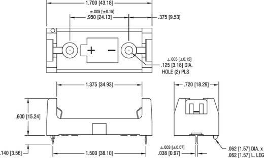 Elemtartó speciális elemhez 1 x 2/3 AA, nyákba forrasztható, 43 x 18 x 15 mm, Keystone 1029