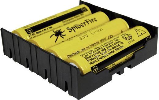 MPD Elemtartó tüskékkel, 4 db lítiumion akkuhoz, 18650 THT F, 4 x 18650-hez (H x Sz x Ma) 77.98 x 78.84 x 21.54 mm