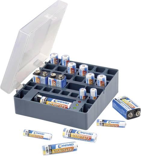 Elem vagy akkumulátor tároló, többrekeszes elemtartó elemteszterrel Conrad Energy 651818