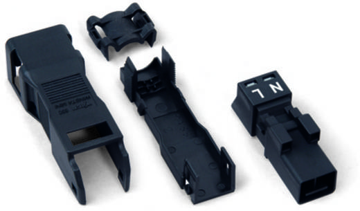 Hálózati csatlakozó dugó, egyenes, 16 A, pólusszám: 2, fekete, 50 db, WAGO 890-112