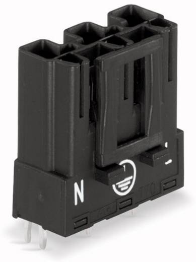 Hálózati csatlakozó dugó, beépíthető, vízszintes, pólusszám: 3, 25 A, fekete, WAGO 770-813, 100 db