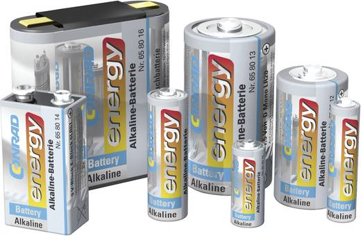 9V-os elem, alkáli mangán, 9V, Conrad Energy 6LR61, 6LR21, 6AM6, 6LP3146, MN1604, A1604, E Block, LR22