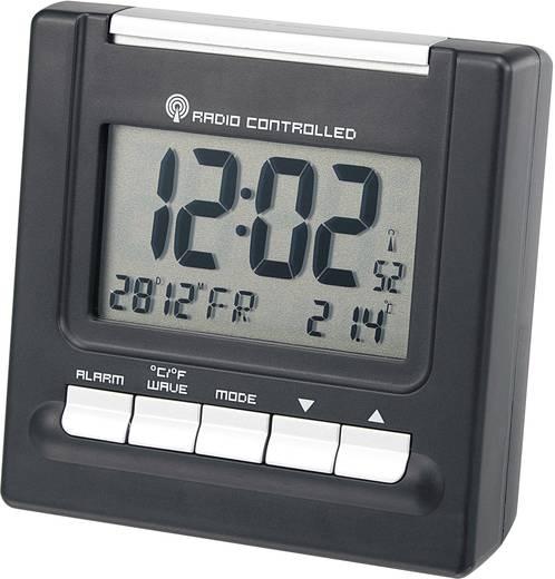 Rádiójel vezérelt digitális ébresztőóra hőmérővel, 81x42x80 mm, fekete, RC195