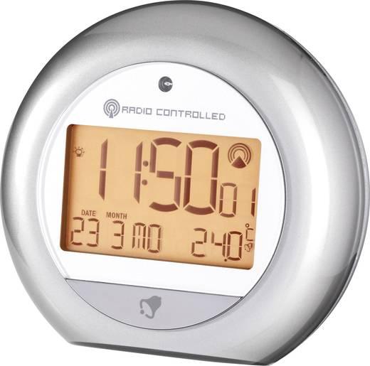 Rádiójel vezérelt világítós digitális ébresztőóra hőmérővel és fényszenzorral, 112x102x51 mm, ezüst, RC 192XAL