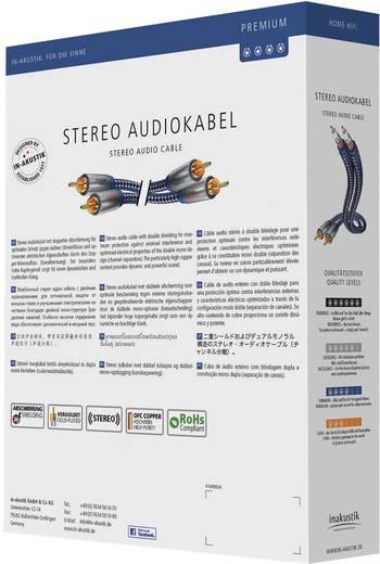 RCA audio kábel, 2x RCA dugó - 2x RCA dugó, 0,75 m, OFC, aranyozott, kék/ezüst, Inakustik 671911