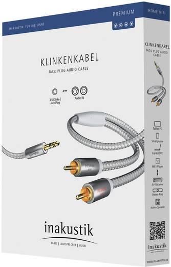 Jack - RCA audio kábel, 1x 3,5 mm jack dugó - 2x RCA dugó, 1,5 m, aranyozott, fehér/ezüst, Inakustik 671934