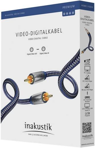 Kompozit RCA video kábel, 1x RCA dugó - 1x RCA dugó, 1 m, kék/ezüst, Inakustik