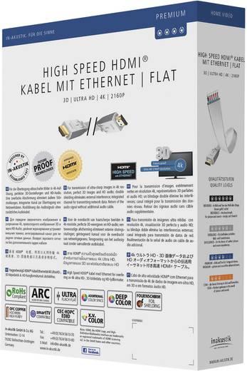Lapos HDMI kábel, HDMI monitor kábel 3m fehér Inakustik Premium High Speed