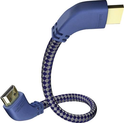HDMI kábel, HDMI monitorkábel könyökdugóval 1,5m többszörösen árnyékolt kék-szürke Inakustik