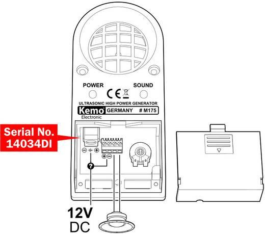 Kemo M175 ultrahangos rágcsáló-, rovar-, élősködő-, és madárriasztó, 12V, 100 m²