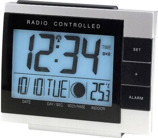 Rádiójel vezérelt digitális ébresztőóra hőmérővel és holdfázis kijelzővel, 118x100x20 mm, Techno Line WS 8055