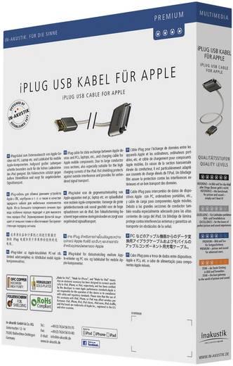 Apple töltőkábel iPhone iPad iPod adatkábel [1x Apple Dock dugó 30 pólusú - 1x USB 2.0 dugó A] 2m fehér Inakustik 440002