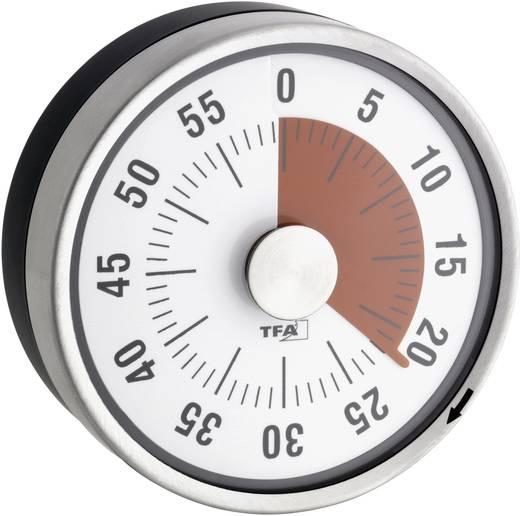 Mechanikus konyhai visszaszámláló óra, időzítő, Ø79x33 mm, fehér, TFA Puck 38-1028-02