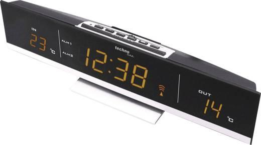Rádiójel vezérelt LED-es digitális ébresztőóra, külső belső hőmérővel, borostyán színű kijelzővel Techno Line WS 6810