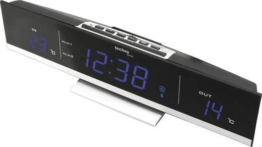 Rádiójel vezérelt LED világítós digitális ébresztőóra, külső/belső hőmérővel, 285x70x55 mm, KÉK, Techno Line WS 6810