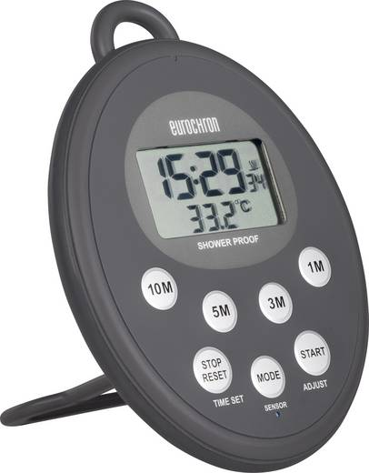 Digitális vízálló visszaszámláló óra, időzítő, rádiójel vezérelt órával, 99x131x20 mm, Eurochron EDT 300