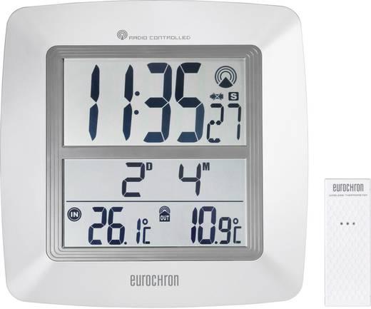 Eurochron EFWU 1600 digitális rádiójel vezérelt jumbo falióra, külső hőmérővel, 254x254x40 mm, fehér